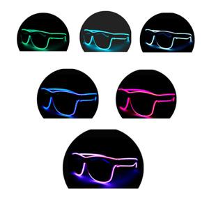 Light up Glasses Black Lens Bright Neon LED Shades Festival Party Adjustable