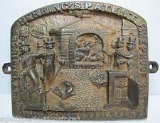 Antique Herring's FireProof Safe Bronze Plaque pat 1852 New York ornate