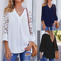 Women Lace Floral 3/4 Sleeve Loose Top Tunic Shirt Ladies V Neck Blouse Size8-26