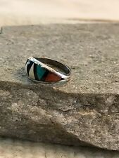 Vintage Zuni Bowannie Sterling Silver Multi Stone Inlay Ring size 5