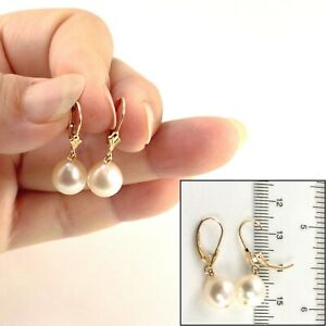 14k Gold Leverback Genuine White Cultured Pearl Dangle Earrings TPJ