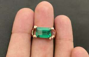 Emerald Ring 925 Solid Sterling Silver 22K Yellow Gold Fill Green Gemstone Ring
