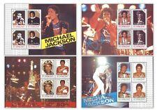 St. Vincent Michael Jackson 4 Different Commemorative Stamp Miniature Sheets MUH