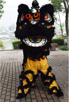 Black Lion Dance Mascot Costume Suit Chinese Folk Art Wool Southern Two Adults