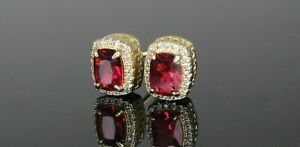 Ice Out 12MM Custom Ruby Red Hiphop 18K Gold Finish Earrings - LIFETIME WARRANTY
