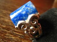 prächtiger schwerer Ring im Art Deco Stil Lapislazuli blau 925er Silber 17,75 mm