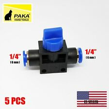 5 pcs Pneumatic Ball Valve Push In Fittings Connectors for Air/Water Tube