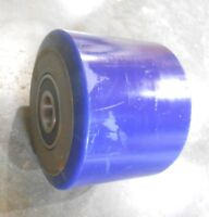 "Forklift Wheel Blue Poly 3-7/8"" Dia  X 5"" W with 1"" Bore Bearings (Qty-2) (X4)"