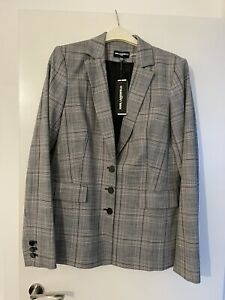 New Long Tall Sally Karl Lagerfeld Grey Check Suit Jacket Blazer Size 18