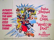 WHAT'S UP DOC? 1972 Barbra Streisand, Ryan O'Neal UK QUAD POSTER