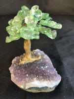 "5"" Tree In Green Quartz Crystal Natural In Amethyst Base Cluster Tree Of Life"