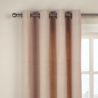 "JOHN LEWIS Cotton Rib Lined Eyelet Top Curtains -PUTTY-59"" x 72""/150cmx182cm"