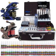 Complete Tattoo Kit 2 Tattoo Machine Guns Set 54 Ink Power Supply Needle TK270