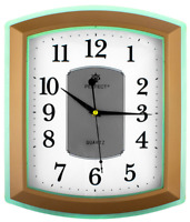 Rectangle Wall Clock PERFECT , Non-Ticking , Green / Gold Case