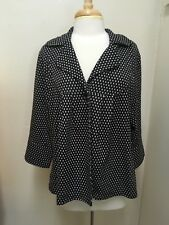 Soft by Avenue Caplet Flared Flutter black w White Squares 1 button Shrug 18/20