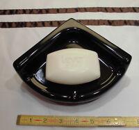 Ceramic *Glossy Black* Small Corner Bath-Shower Soap Dish-Tray-Shelf,   New Mint