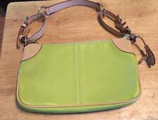 Women's Handbag, Lime W/Tan Handles & Accents (Pre Owned)