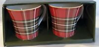 222 FIFTH WEXFORD RED PLAID Coffee MUGS - SET OF 2 - Christmas - NEW!