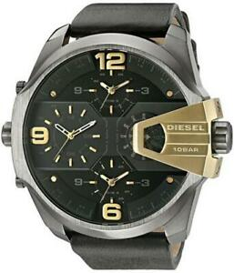 Diesel Uber Chief Mens Watch Black and Gold Leather Strap RRP £349 DZ7377