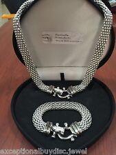 Soft Cuff Bangle Buckle Bracelet Necklace Sz 8 (14K Wg & Sts ) Lcs Diamond Flex