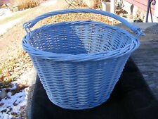 Vintage Round Wicker Rattan Blue Basket with Swing Handle