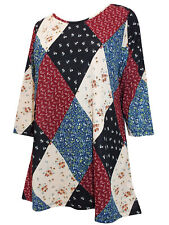 Yours Curvy Tunic Top DIAMOND PATCHWORK 3/4 Sleeve Sz 16 18 20 22/24 26/28 30/32