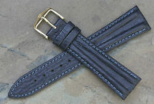 Hirsch 20mm slate blue stunning color & texture leather watch band very unique