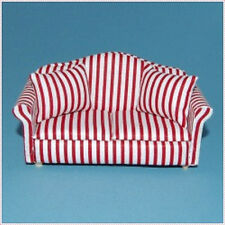 DUE POSTI SOFA in righe rosse, doll house furniture miniature 1.12 scala DIVANO