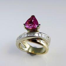 RRR! Unheated Natural Hot Neon Pink Sapphire Diamond Engagement Ring 14K Gold