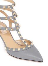 Valentino Pumps Rockstud Gray Pebbled  Leather Heels EUR 38 US 8