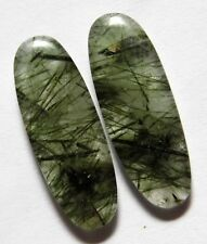 25.55 Ct Natural Green Rutilated Quartz(29.5mm X 10.6mm each)Cabochon Match Pair