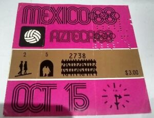 Ticket Original. Olympic Games in Mexico 1968 soccer Mexico-France !!! Rare