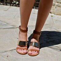 ZARA GOLD AND TAN METALLIC STRAPPY ANKLE SANDALS SIZE UK5 EUR38 US7.5