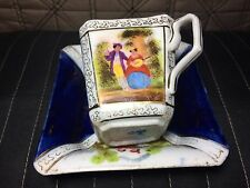 Rear Cobalt blue Square Helena Dresden Hand Painted  Cup and Saucer