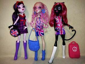 Monster High Catty Noir, Elissabat & Viperine - Ghoulebreties In Londoom. COOL!