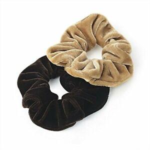 HA25636 Two Piece Dark/Light velvet look elasticated hair scrunchies