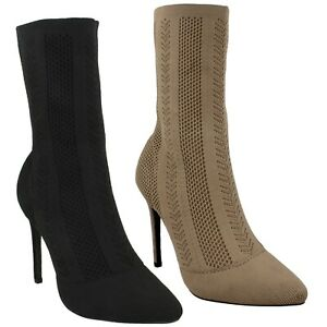 F5R0876 LADIES ANNE MICHELLE POINTED TOE HIGH STILETTO HEEL KNITTED CALF BOOTS