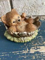 Vintage Porcelain Masterpiece By Homco- Baby Bear In A Stump Figurine