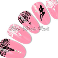 Nail Art Water Decals Stickers Transfers Black White Lace Tinkerbell Fairy S052