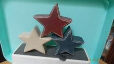 3 Primitive Red White Blue Wood Stacking Stars