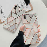 For iPhone XS Max XR 8 7 6s Phone Case Geometrical Marble Pattern Soft TPU Cover