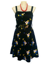 CITY CHIC Sundress - 1950s Vintage Style Black Belt Floral Blue Yellow - S/16/18