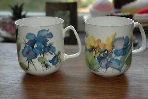Two Rose of england, floral bone china mugs