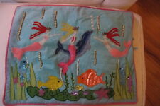 Davenport Home, Bead ,Sequin and Embroidered Mermaid and Fish pillow cover.