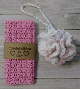 spa crochet bath pouf wash cloth set  large pink loofah handmade new