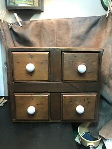 Vintage Wooden Four Drawer Table Top Pine Cabinet W/Dove Tail Constructed Drawer