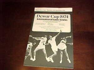 1974 Dewar Cup International Lawn Tennis Scorecard 11/14