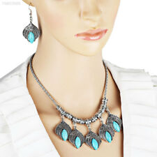 Cfe1 Fashion Retro Turquoise Leaves Jewellery Pendant Necklace Earrings Set Gift