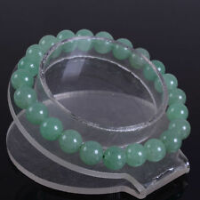 """New 10mm Green Emerald Round Stretchy Bracelet 7.5 """"Aaa"""
