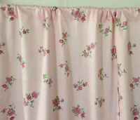 Vintage pink roses mid century cotton fabric curtains drapery panels pair!